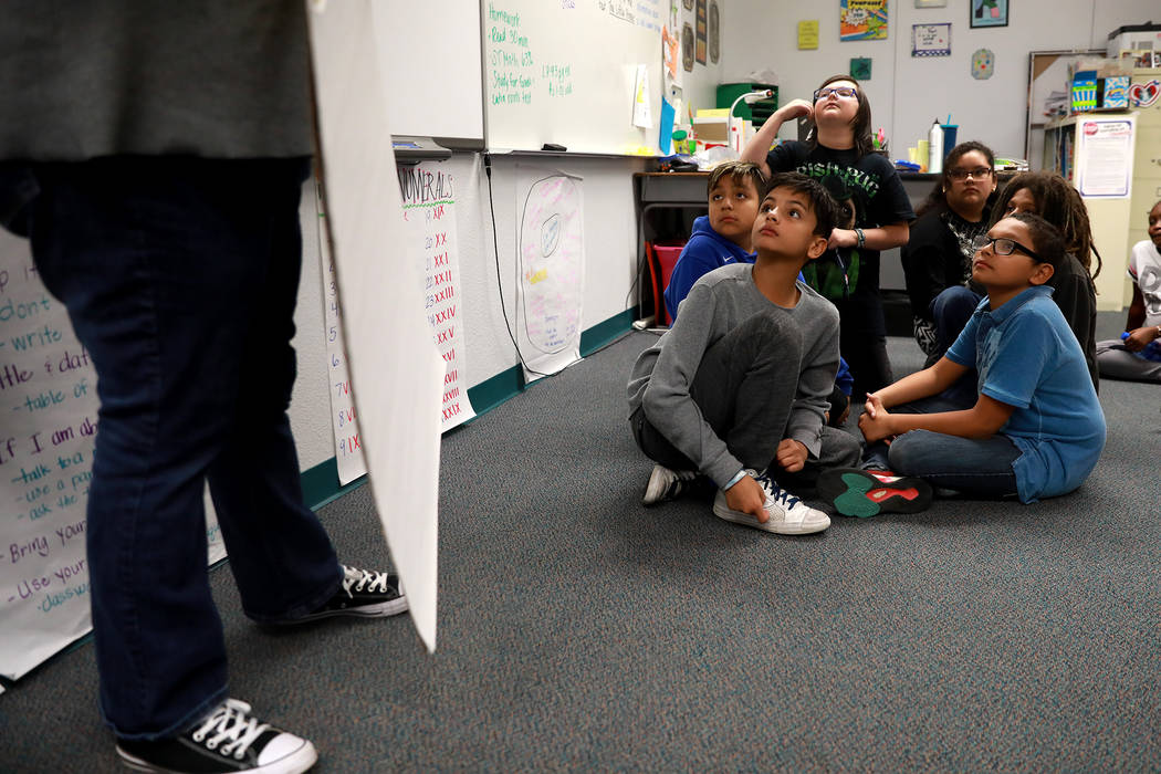 Students listen to instructions at Doris French Elementary School, which went from being ranked two stars to five stars, in Las Vegas, Friday, Feb. 2, 2018. Andrea Cornejo Las Vegas Review-Journal ...