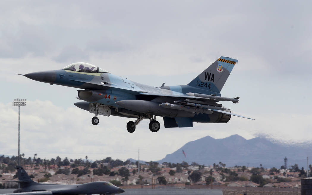 An F-16 aggressor takes off from Nellis Air Force Base in Las Vegas during Red Flag air combat exercise Tuesday, Feb. 13, 2018. K.M. Cannon Las Vegas Review-Journal @KMCannonPhoto