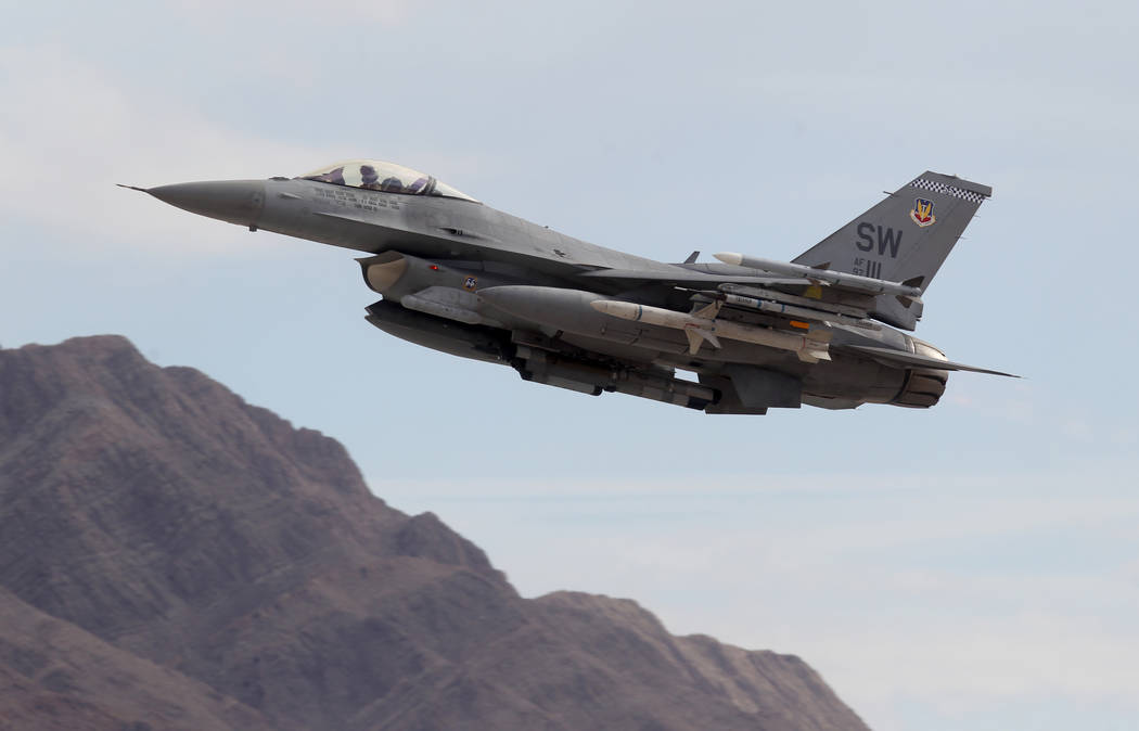 An F-16 takes off from Nellis Air Force Base in Las Vegas during Red Flag air combat exercise Tuesday, Feb. 13, 2018. K.M. Cannon Las Vegas Review-Journal @KMCannonPhoto