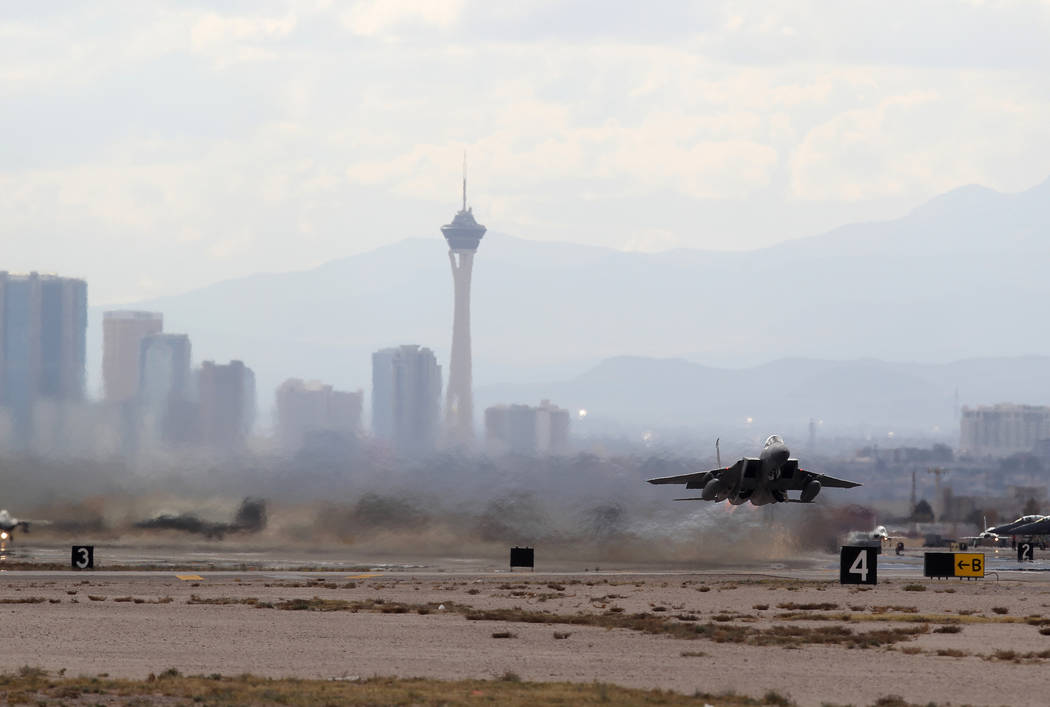 An F-15 takes off from Nellis Air Force Base in Las Vegas during Red Flag air combat exercise Tuesday, Feb. 13, 2018. K.M. Cannon Las Vegas Review-Journal @KMCannonPhoto