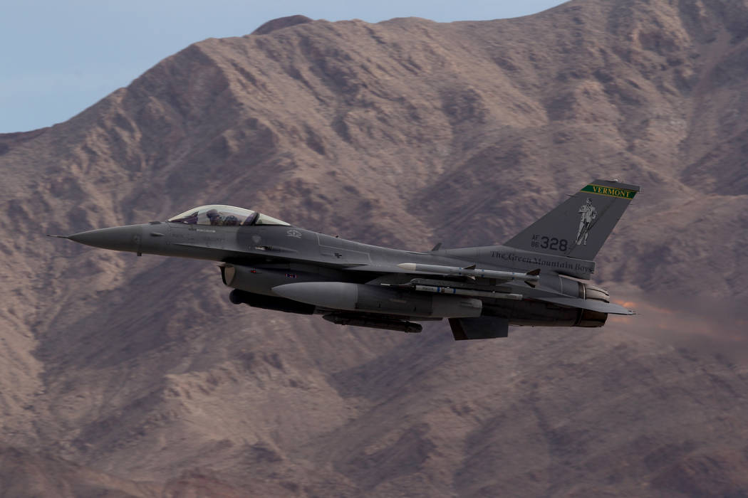 An F-16  Fighting Falcon takes off from Nellis Air Force Base in Las Vegas during Red Flag air combat exercise Tuesday, Feb. 13, 2018. K.M. Cannon Las Vegas Review-Journal @KMCannonPhoto