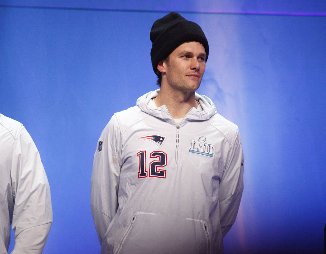 New England Patriots quarterback Tom Brady is introduced on stage during Super Bowl 52 Opening Night at the Xcel Energy Center in St. Paul, Minn., Monday, Jan. 29, 2018. Heidi Fang Las Vegas Revie ...