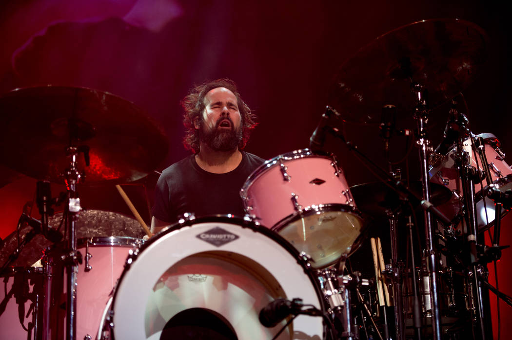 Ronnie Vannucci Jr. and The Killers perform Monday during Holiday Havoc at The Pearl at the Palms (Rob Loud).