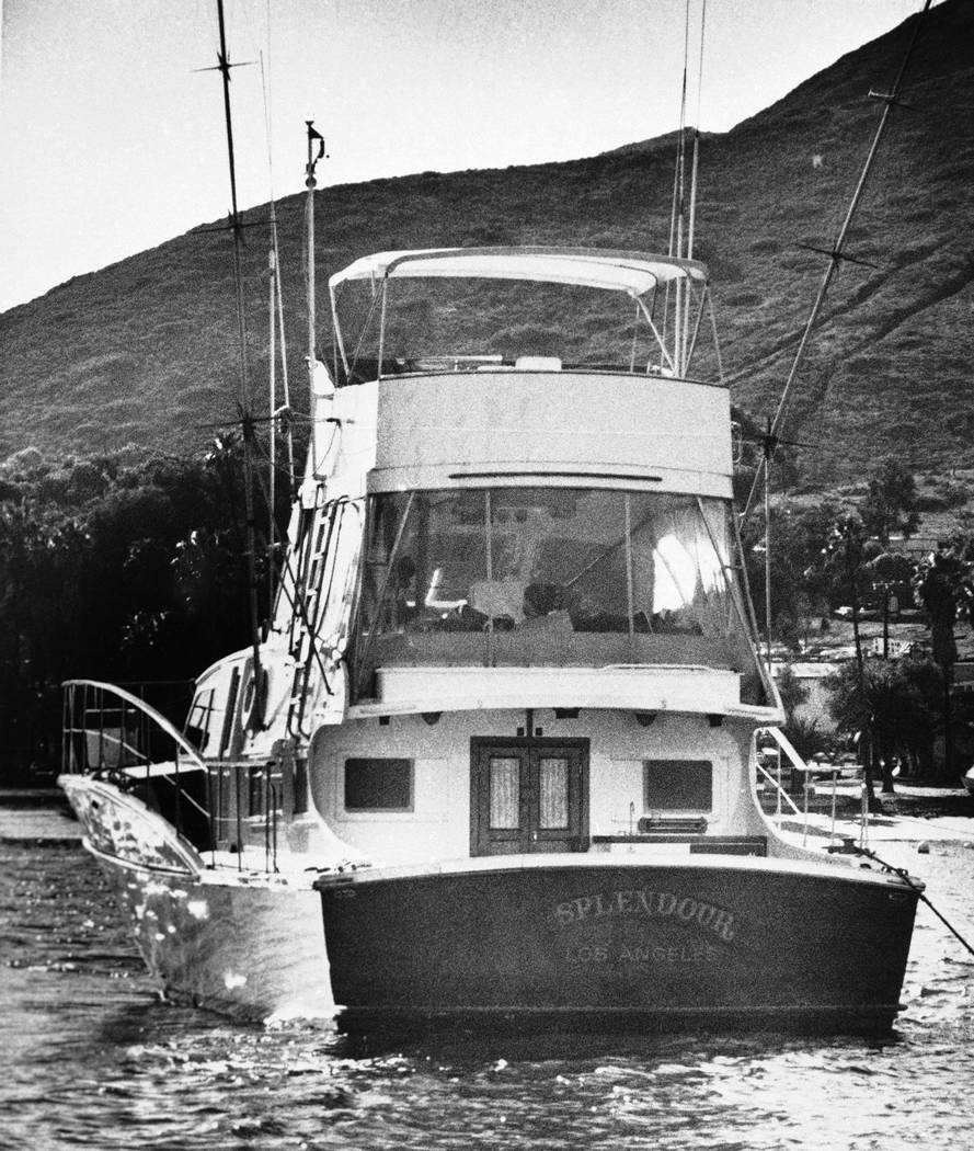 "This Nov. 29, 1981 file photo, the 55-foot yacht ""Splendour,"" belonging to actor Robert Wagner and his wife, actress Natalie Wood, sits in the waters at Avalon, Calif., on Santa Catalina Island, n ..."