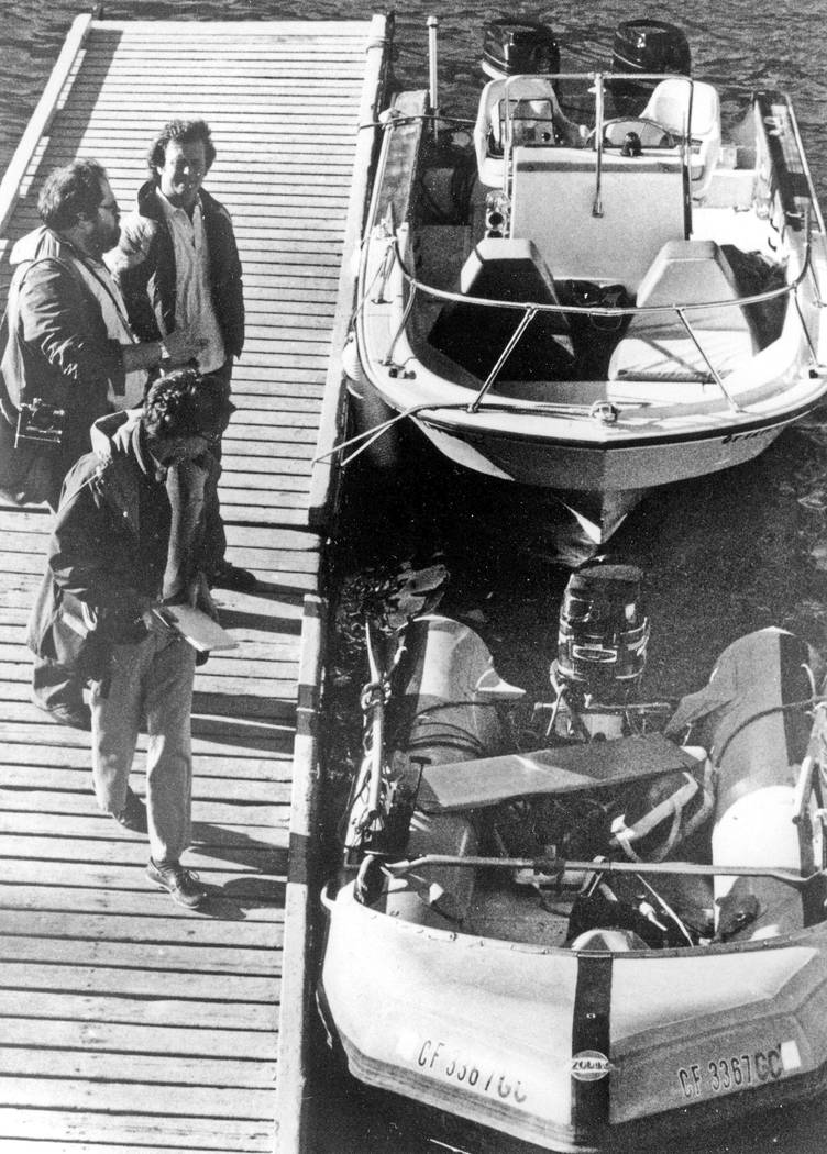 "This Nov. 30, 1981 file photo shows the ""Prince Valiant,"" the inflatable dinghy used by Natalie Wood, moored at the harbor in Avalon, Calif., after it washed up on the rocks on Santa Catalina Isla ..."