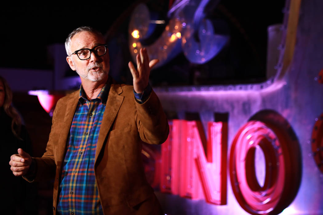 "Rob McCoy, CEO of Neon Museum, points to the museum's latest exhibit, ""Brilliant!"" Рan audiovisual immersion experience that uses technology advances to reanimate 40 monume ..."