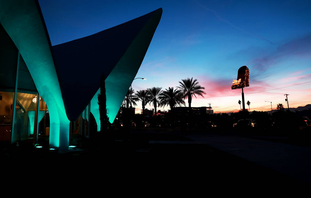 A view of the Neon Museum during sunset in Las Vegas, Thursday, Feb. 1, 2018. Andrea Cornejo Las Vegas Review-Journal @DreaCornejo