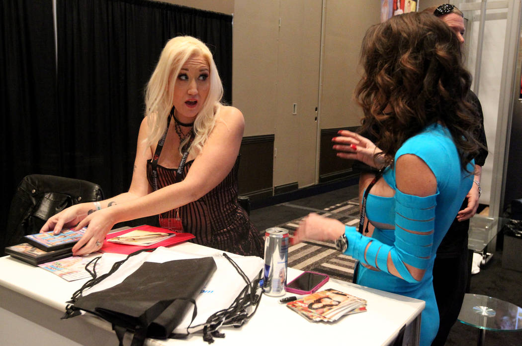 Alana Evans, left, visits with Dava Foxx during AVN Adult Entertainment Expo at the Hard Rock Hotel in Las Vegas Friday, Jan. 26, 2018. K.M. Cannon Las Vegas Review-Journal @KMCannonPhoto