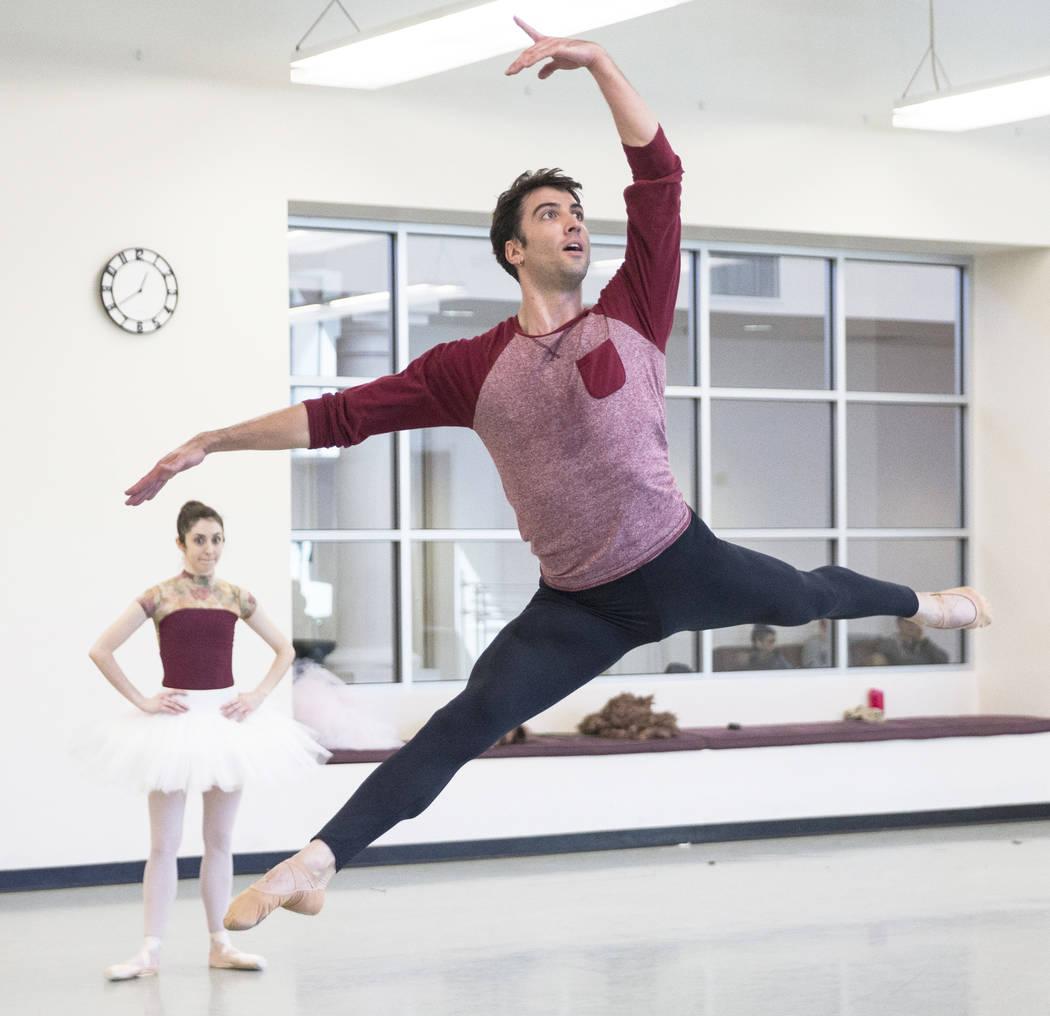 "Sergio Alvarez rehearses with partner Emma McGirr for the Nevada Ballet Theatre's ""Beauty and the Beast"" on Tuesday, Feb. 6, 2018, at Nevada Ballet Theatre in Las Vegas. (Benjamin Hager/Las Vegas  ..."