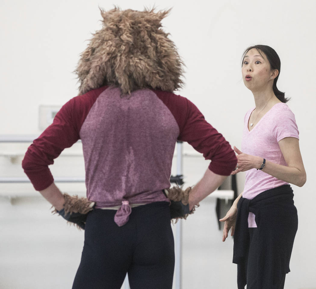 "Leslie Youg, right, works with Sergio Alvarez during rehearsal for the Nevada Ballet Theatre's ""Beauty and the Beast"" on Tuesday, Feb. 6, 2018, at Nevada Ballet Theatre in Las Vegas. (Benjamin Hag ..."