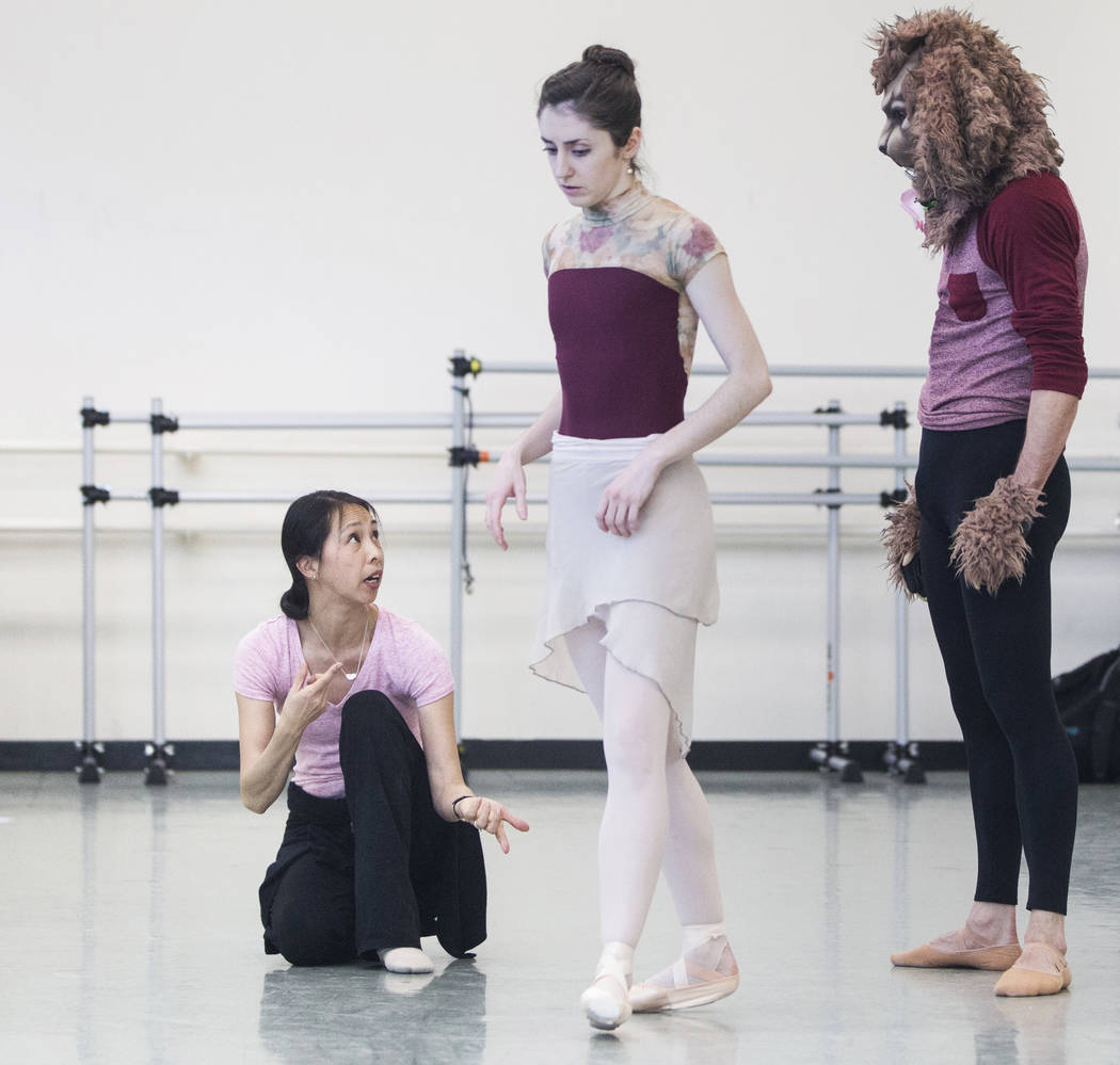 "Leslie Youg, left, gives direction to dancers Emma McGirr and Sergio Alvarez during rehearsal for the Nevada Ballet Theatre's ""Beauty and the Beast"" on Tuesday, Feb. 6, 2018, at Nevada Ballet Thea ..."