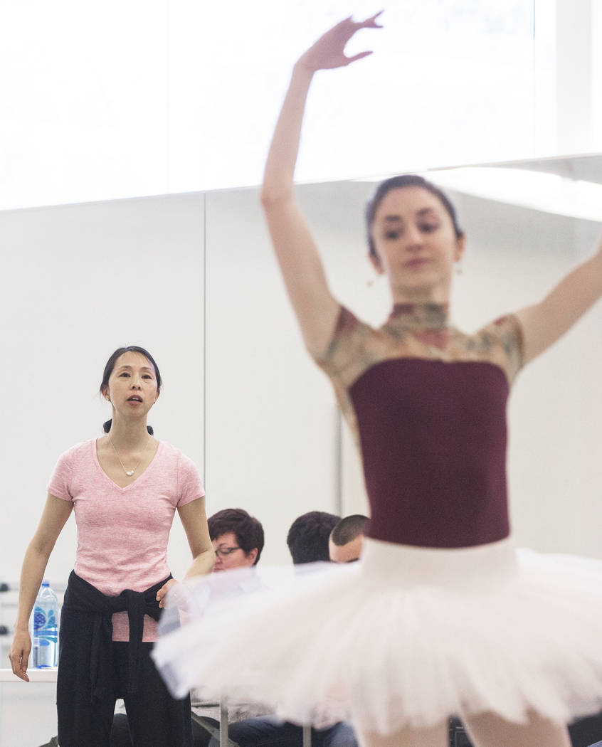 "Leslie Youg, left, watches dancer Emma McGirr during rehearsal for the Nevada Ballet Theatre's ""Beauty and the Beast"" on Tuesday, Feb. 6, 2018, at Nevada Ballet Theatre, in Las Vegas. (Benjamin Ha ..."