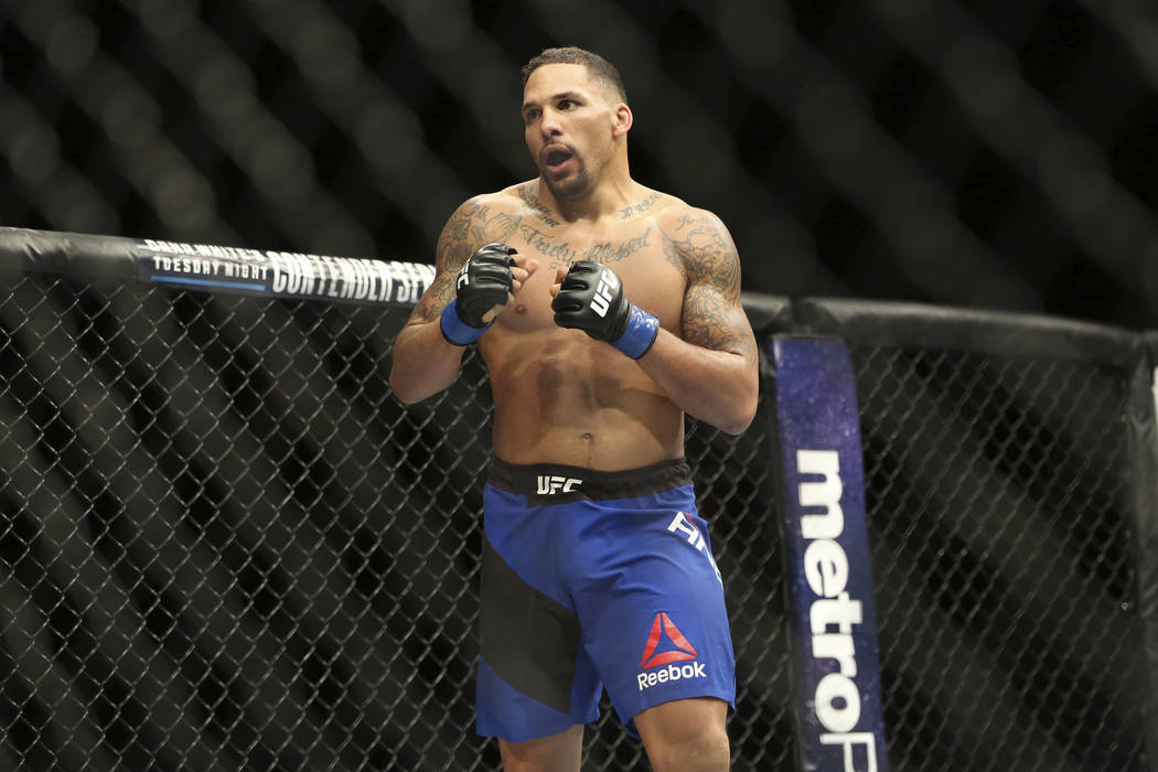 Eryk Anders in action against Rafael Natal during their mixed martial arts bout at UFC on Fox 25, Saturday, July 22, 2017, in New York. Anders won via 1st round KO. (AP Photo/Steve Luciano)