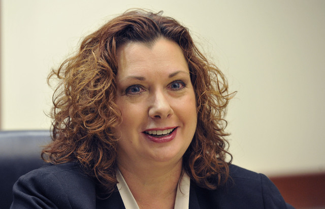 Rena Hughes, candidate for Family Court judge, Dept. J, speaks with the Review-Journal editorial board on Monday, March 3, 2014. (Mark Damon/Las Vegas Review-Journal)