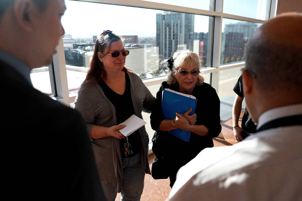 Leslie Ortega and Heather Martin talk to the lawyers after the sentencing of Moroni Calvo, who pleaded guilty to vehicular manslaughter,at the Regional Justice Center in Las Vegas on Wednesd ...