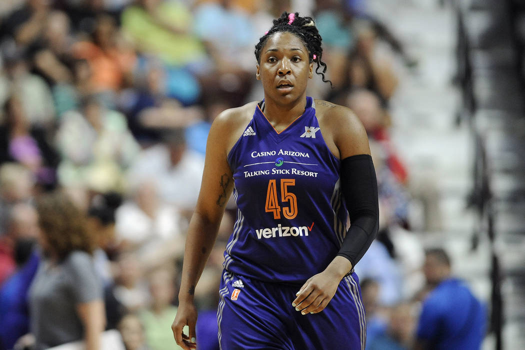 Phoenix Mercury's Kelsey Bone during the second half of a WNBA basketball game, Friday, Sept. 2, 2016, in Uncasville, Conn. (AP Photo/Jessica Hill)