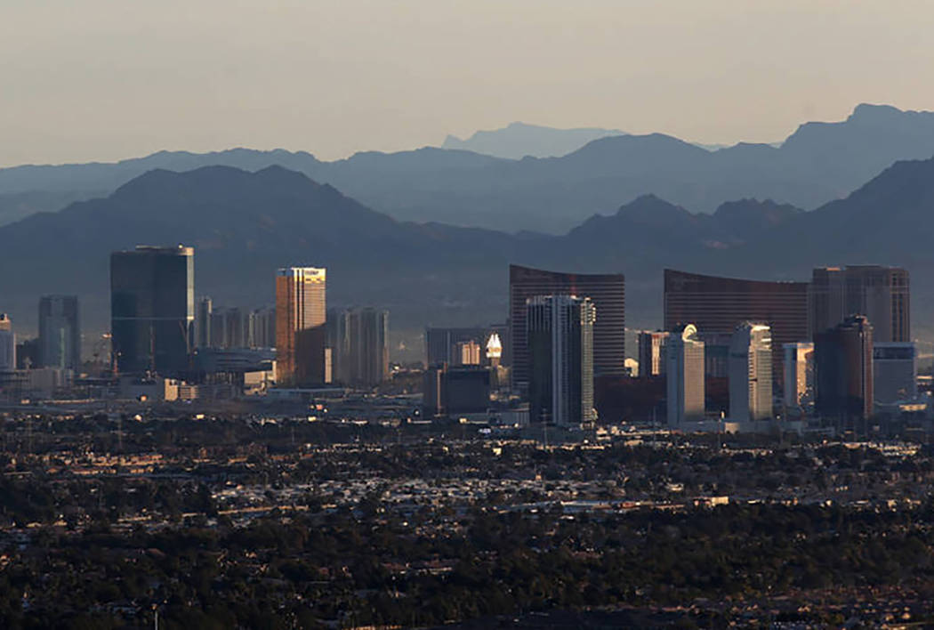 The Las Vegas Strip as seen from a hot air balloon. (K.M. Cannon/Las Vegas Review-Journal)