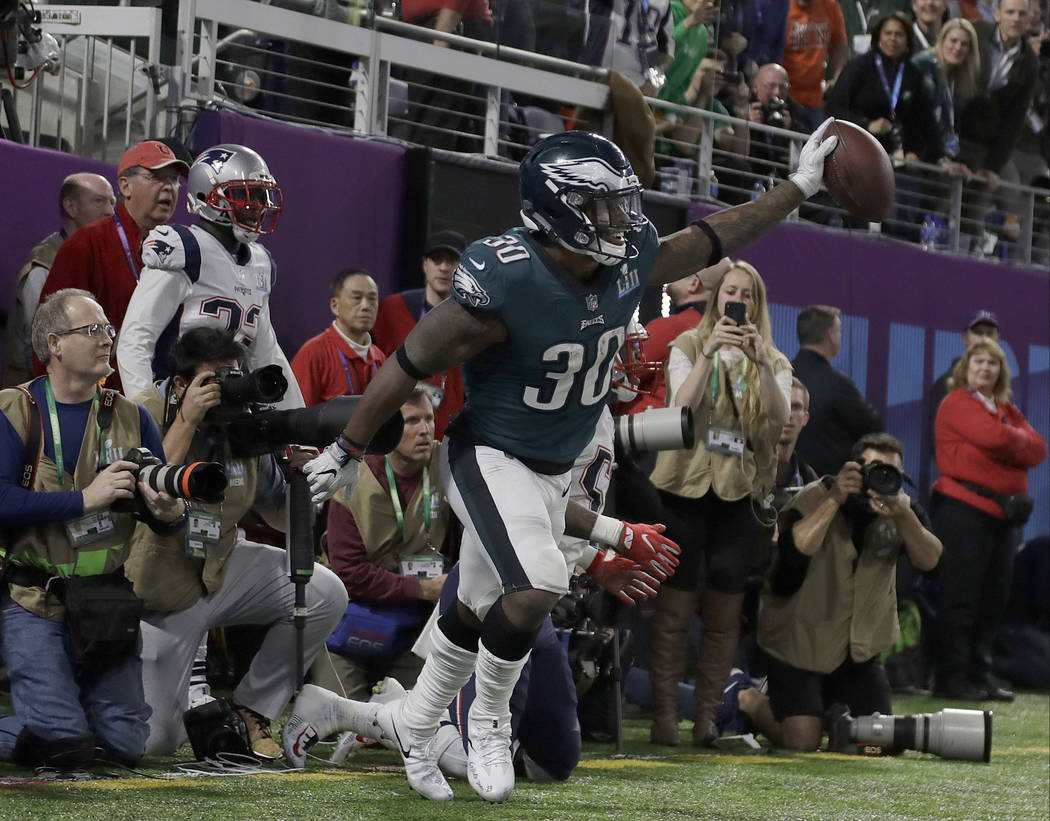 Philadelphia Eagles' Corey Clement celebrates his touchdown catch during the second half of the NFL Super Bowl 52 football game against the New England Patriots Sunday, Feb. 4, 2018, in Minneapoli ...