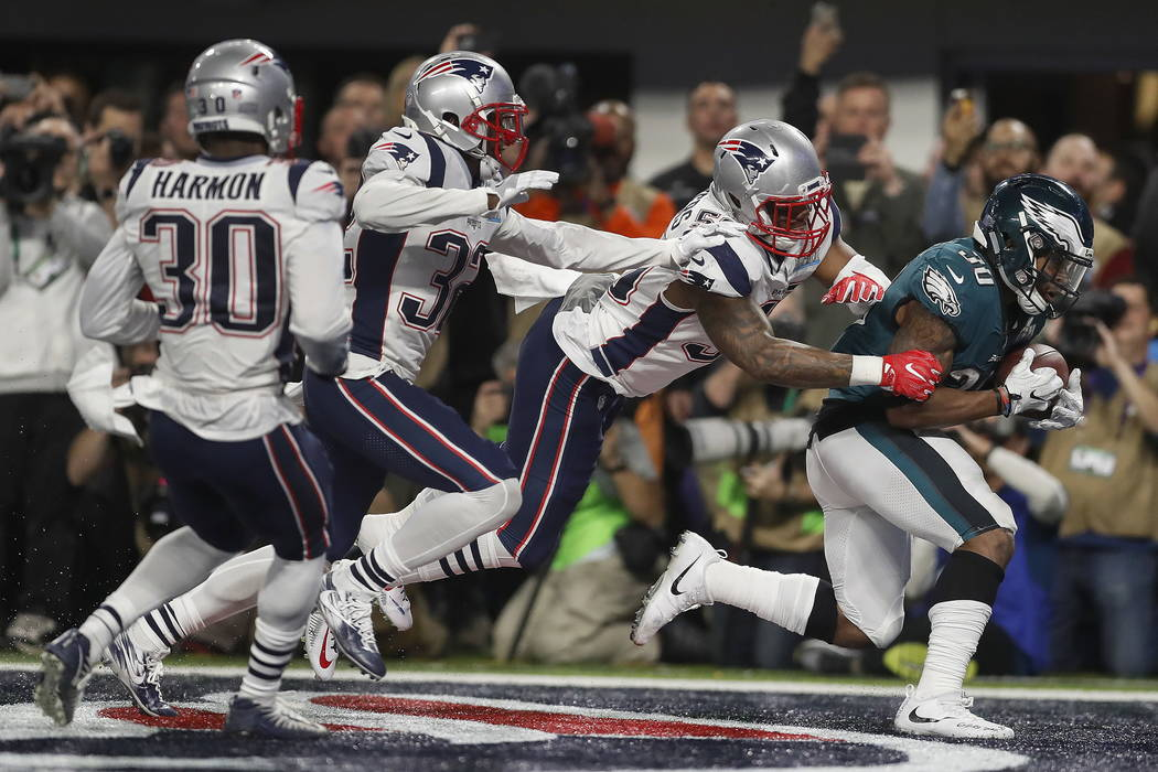 Philadelphia Eagles' Corey Clement catches a touchdown pass during the second half of the NFL Super Bowl 52 football game against the New England Patriots Sunday, Feb. 4, 2018, in Minneapolis. (AP ...