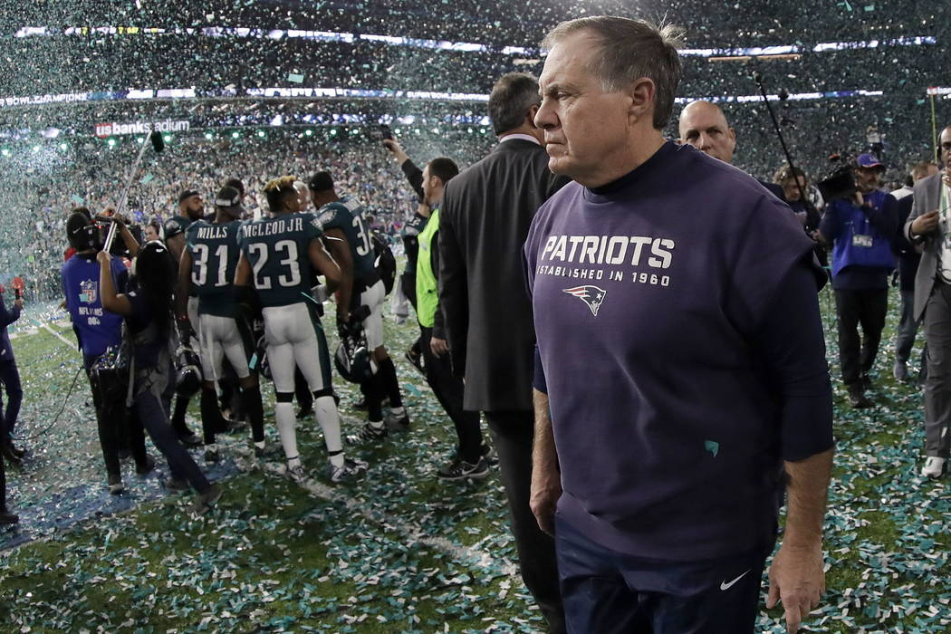 New England Patriots head coach Bill Belichick walks off the field after the NFL Super Bowl 52 football game against the Philadelphia Eagles Sunday, Feb. 4, 2018, in Minneapolis. The Eagles won 41 ...