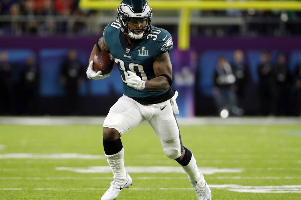 Philadelphia Eagles running back Corey Clement (30), runs the ball, during the first half of the NFL Super Bowl 52 football game against the New England Patriots, Sunday, Feb. 4, 2018, in Minneapo ...