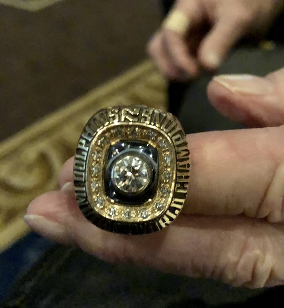 Bob Griese shows his 1973 Super Bowl ring, awarded for the 17-0 Miami Dolphins after they beat the Washington Redskins 14-7. Griese wore the ring during the Super Bowl VIP party at Westgate Las Ve ...