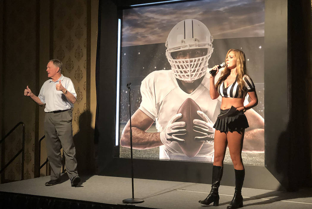 Bob Griese is introduced at Westgate Las Vegas's Super Bowl party on Sunday, Feb. 5, 2018. (Las Vegas Review-Journal/John Katsilometes) @JohnnyKats