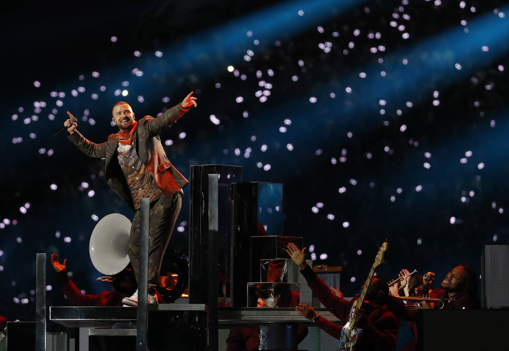 Justin Timberlake performs during halftime at the NFL Super Bowl 52 football game between the Philadelphia Eagles and the New England Patriots,Sunday, Feb. 4, 2018, in Minneapolis. (AP Photo/Charl ...
