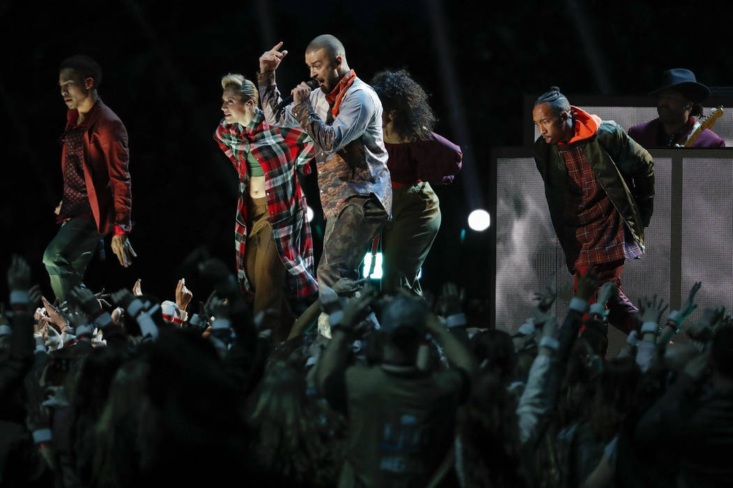Justin Timberlake performs during halftime of the NFL Super Bowl 52 football game between the Philadelphia Eagles and the New England Patriots, Sunday, Feb. 4, 2018, in Minneapolis. (AP Photo/Char ...