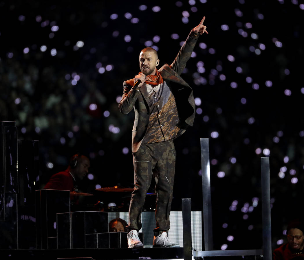 Justin Timberlake performs during halftime of the NFL Super Bowl 52 football game between the Philadelphia Eagles and the New England Patriots Sunday, Feb. 4, 2018, in Minneapolis. (AP Photo/Matt  ...