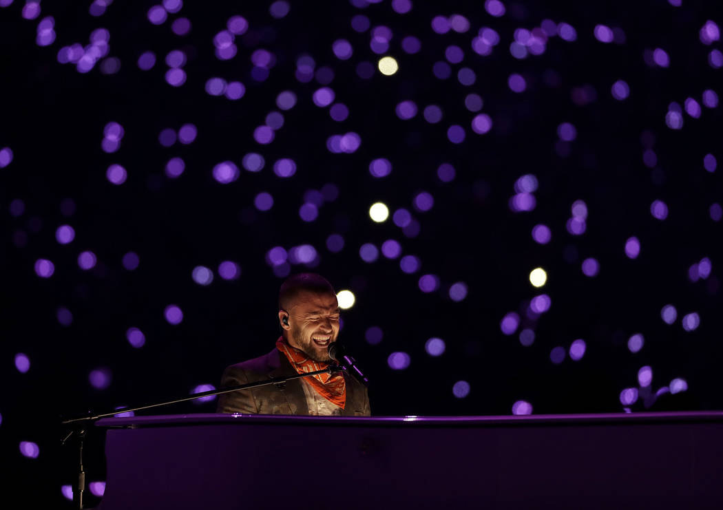 Justin Timberlake performs during halftime of the NFL Super Bowl 52 football game between the Philadelphia Eagles and the New England Patriots, Sunday, Feb. 4, 2018, in Minneapolis. (AP Photo/Matt ...