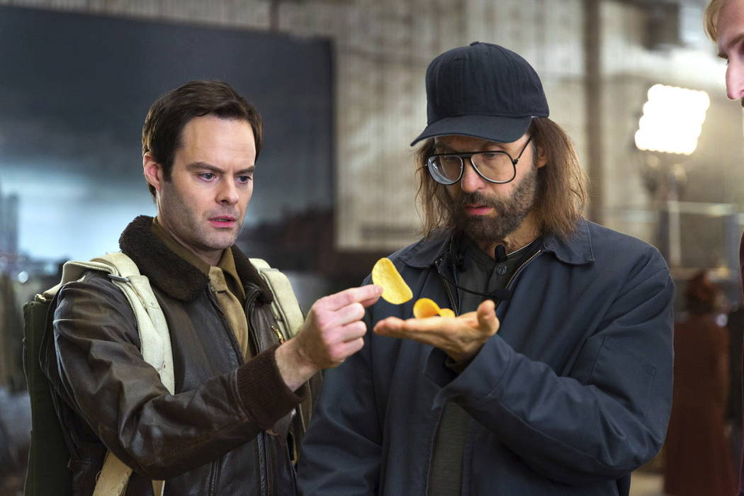 This photo provided by Pringles shows a scene from the company's Super Bowl spot, featuring actors Bill Hader, left, and Sky Elobar. For the 2018 Super Bowl, marketers are paying more than $5 mill ...