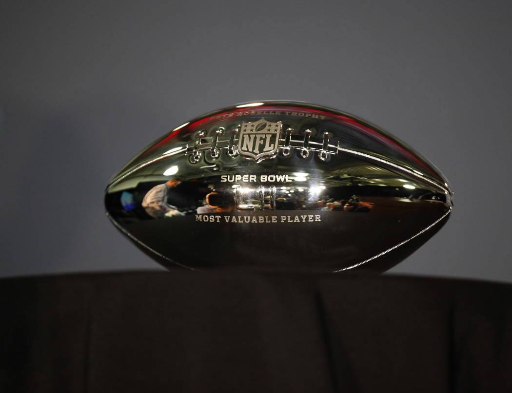The Pete Rozelle Trophy at the Super Bowl LII trophy presentation news conference at the Mall of America in Blommington, Minn., Monday, Feb. 5, 2018. Heidi Fang Las Vegas Review-Journal @HeidiFang