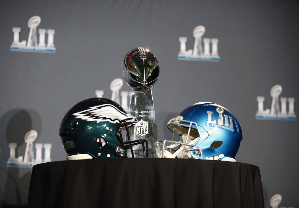 The Vince Lombardi trophy at during the Super Bowl LII trophy presentation news conference at the Mall of America in Blommington, Minn., Monday, Feb. 5, 2018. Heidi Fang Las Vegas Review-Journal @ ...