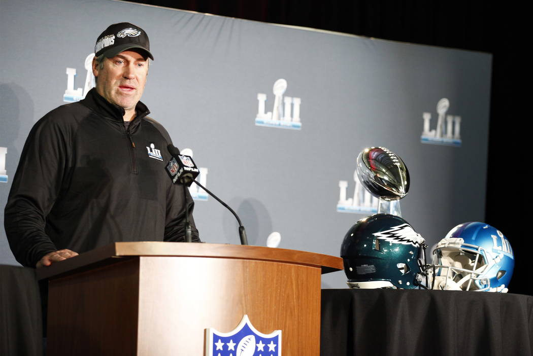 Philadelphia Eagles head coach Doug Pederson addresses the media during the Super Bowl LII trophy presentation news conference at the Mall of America in Blommington, Minn., Monday, Feb. 5, 2018. H ...