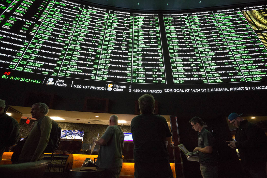 The menu of Super Bowl prop bets lights up the board at the Westgate on Thursday, Jan. 2, 2018 as bettors consider all options for the Feb. 4 clash between the Patriots and Eagles. Richard Brian/L ...