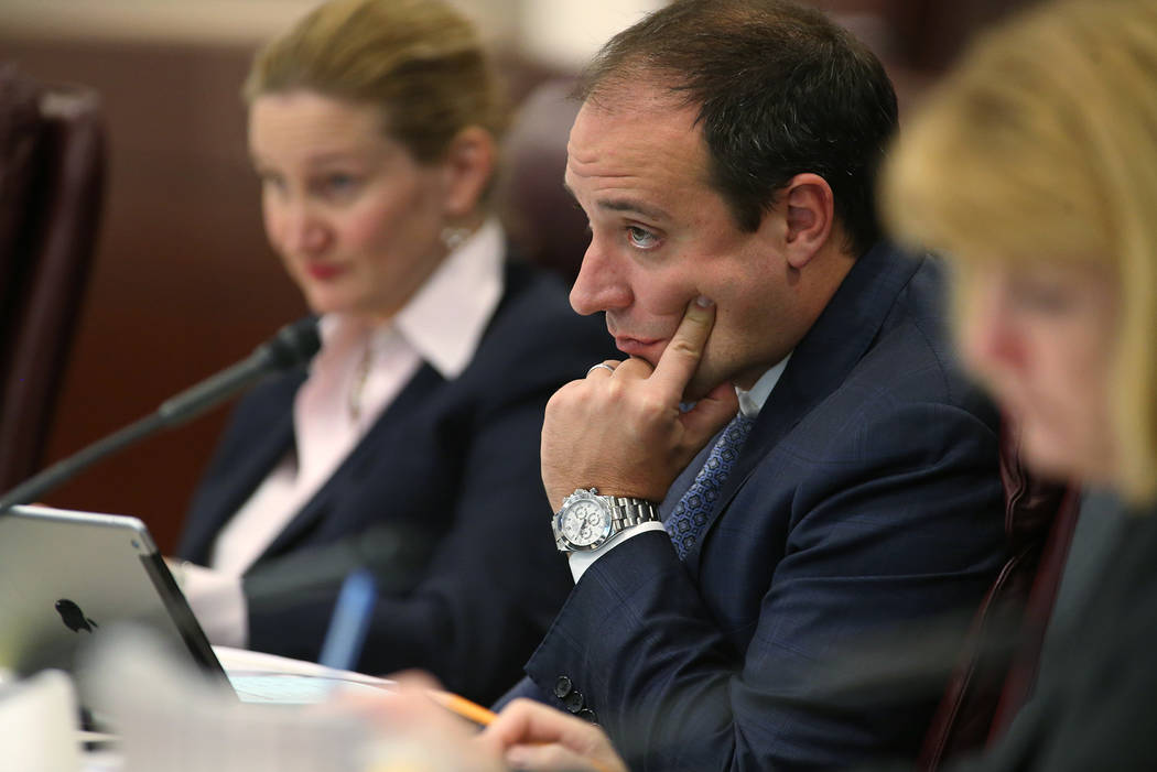 Matt Maddox of Wynn Resorts listens during a meeting at the Legislative Building in Carson City in 2014. (Las Vegas Review-Journal/Cathleen Allison)
