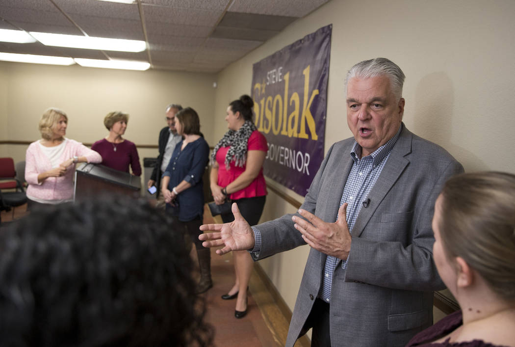 Clark County Commission Chairman and Democratic gubernatorial candidate Steve Sisolak speaks to CCSD employees during a news conference at the Clark County Education Association building in Las Ve ...