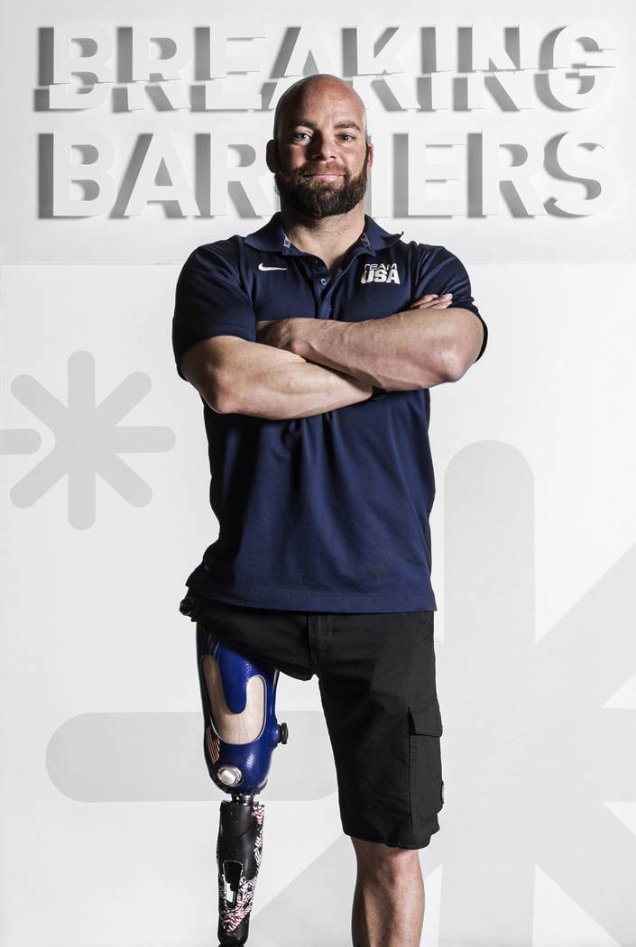 Paralympic hopeful Nik Miller at the Hanger Education Fair & National Business Meeting on Wednesday, January 31, 2018, at the Rio hotel-casino, in Las Vegas. Benjamin Hager Las Vegas Review-Jo ...