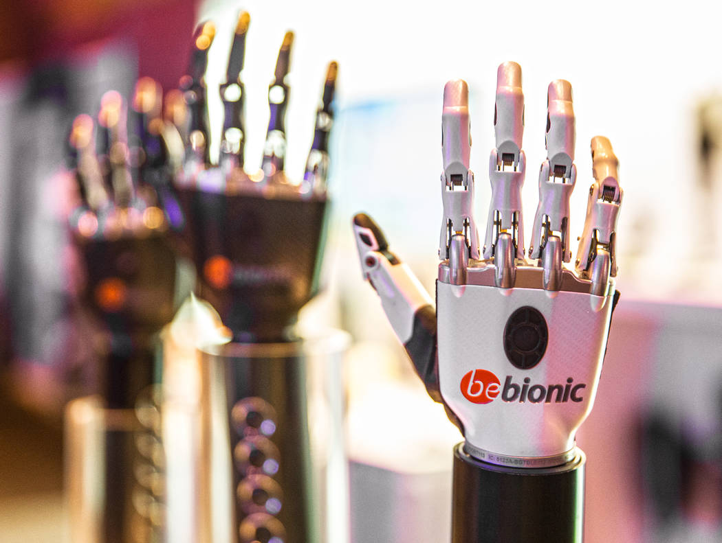 Multi-articulating bebionic hand by Ottobock at the Hanger Education Fair & National Business Meeting on Wednesday, January 31, 2018, at the Rio hotel-casino, in Las Vegas. Benjamin Hager Las  ...