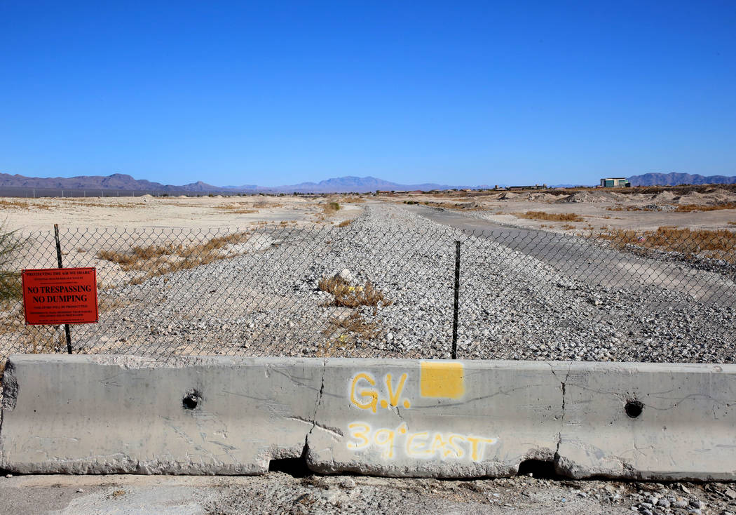 A vacant lot at the corner of Decatur Boulevard and Farm Road on Tuesday, Feb. 6, 2018, in Las Vegas. Homebuilder D.R. Horton acquired 130 acres of land in North Las Vegas' Valley Vista community. ...