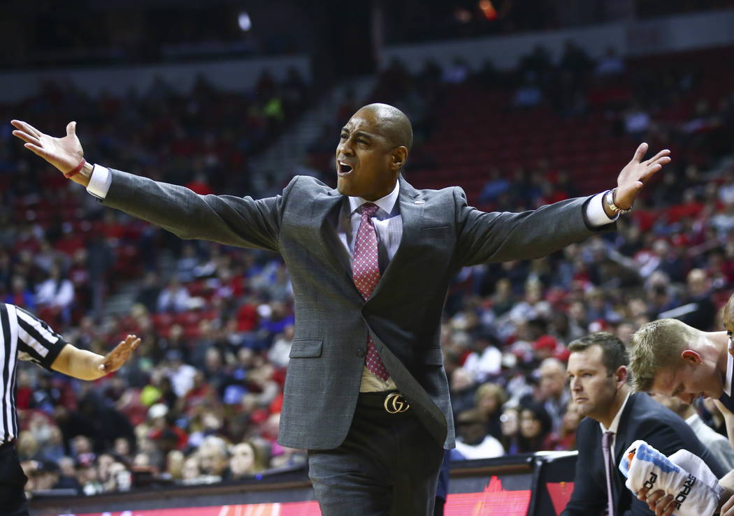 Fresno State Bulldogs head coach Rodney Terry reacts during the first half of a basketball game against the UNLV Rebels at the Thomas & Mack Center in Las Vegas on Wednesday, Feb. 21, 2018. Ch ...