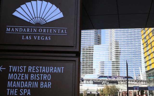 Mandarin Oriental, left,  and Aria hotel-casino, center, in Las Vegas on Wednesday, Feb. 1, 2017. (Bizuayehu Tesfaye/Las Vegas Review-Journal) @bizutesfaye