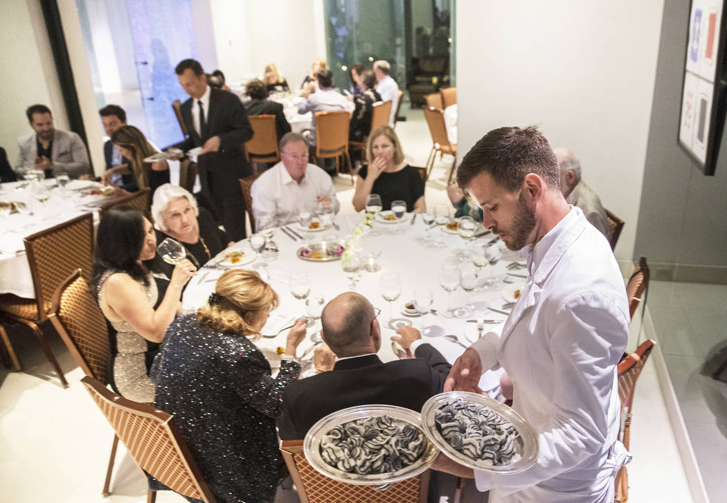 Dinner is served at Mr. Chow during the master series The UltimateThrowback with Mr. Chow at Vegas Uncork'd on Thursday, April 27, 2017, at Caesar's Palace hotel-casino, in Las Vegas.  Benjamin Ha ...