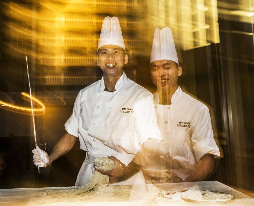 Pasta chef Yiu Ming Tsui prepares Beijing noodles during the master series The UltimateThrowback with Mr. Chow at Vegas Uncork'd on Thursday, April 27, 2017, at Mr. Chow, at Caesar's Palace hotel- ...