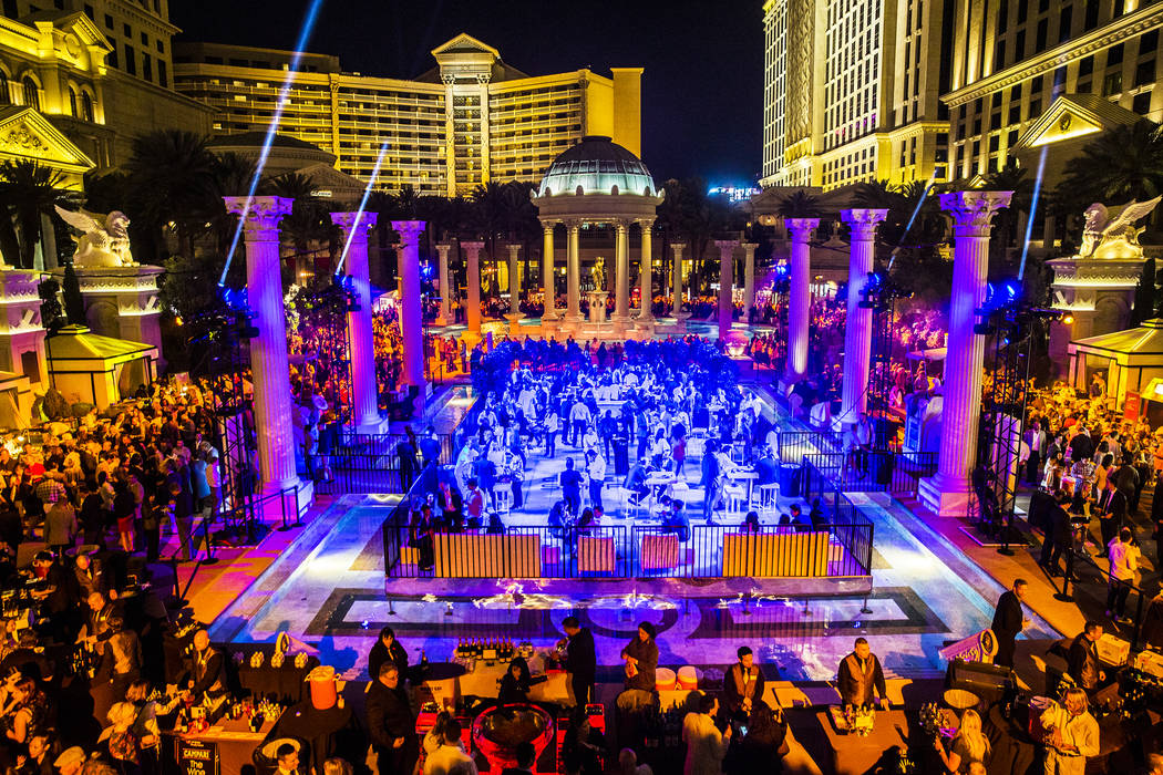 More than 2,500 guests pack the Garden of the Gods Pool Oasis during The Grand Tasting at Vegas Uncork'd on Friday, April 28, 2017, at Caesars Palace hotel-casino, in Las Vegas. (Benjamin Hager La ...