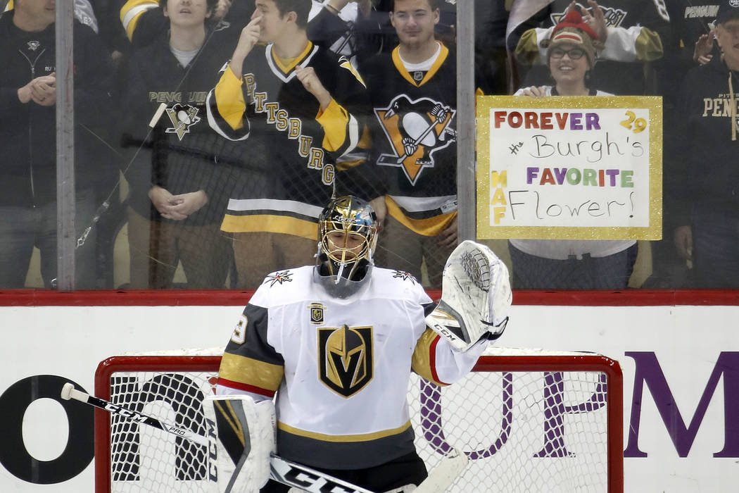 san francisco 66c4c 076f4 Fleury's return to Pittsburgh ends in 5-4 loss | Las Vegas ...