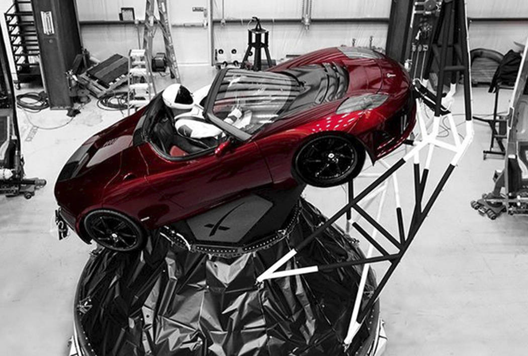 "A mannequin ""Starman"" sits at the wheel of a Tesla Roadster in this photo posted on the Instagram account of Elon Musk, head of auto company Tesla and founder of the private space company Spac ..."