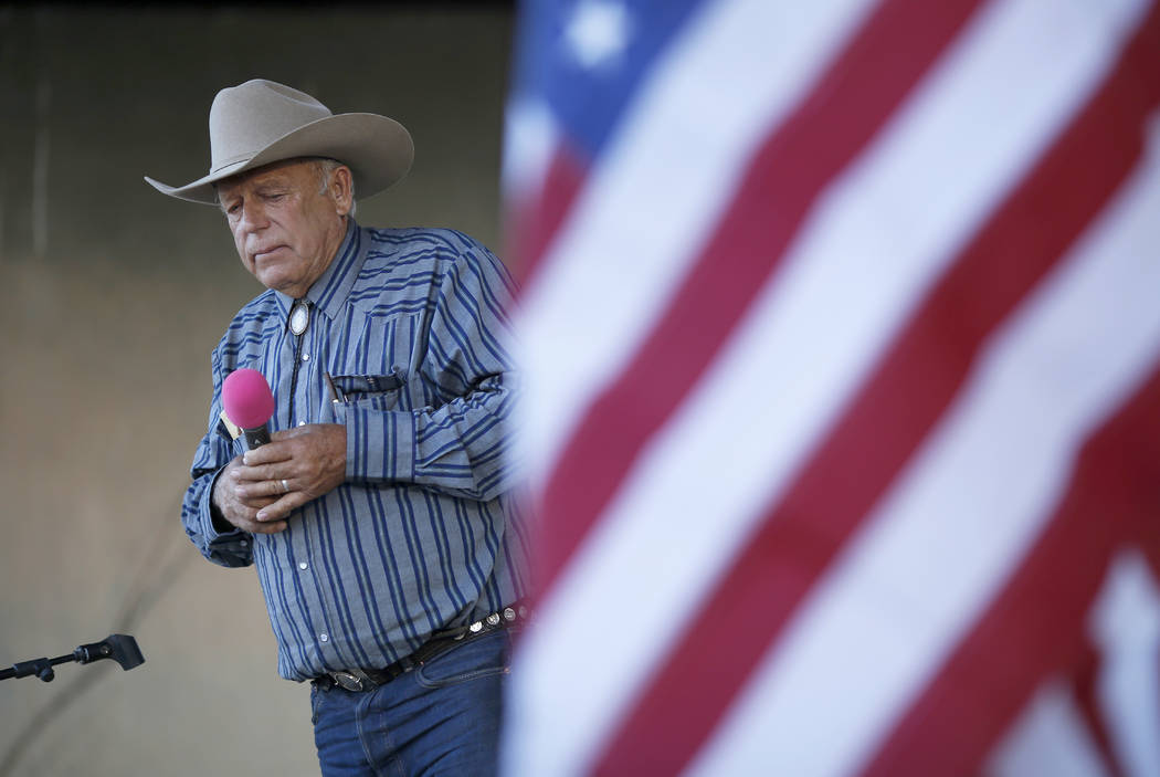 Rancher Cliven Bundy speaks at an event in Bunkerville, April 11, 2015. Bundy has long resisted federal control of public land, culminating in an armed standoff in 2014 on U.S. Bureau of Land Mana ...
