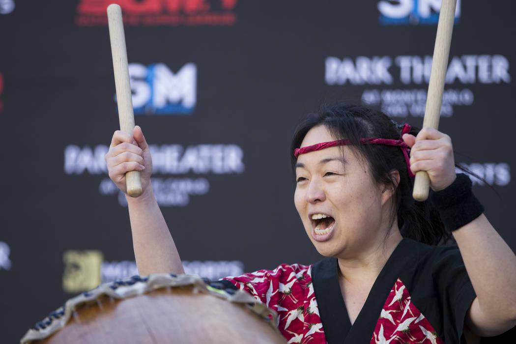 Janeen Nanbu with the Las Vegas Kaminari Taiko ensemble performs during an Ultimate Sumo League press conference at Toshiba Plaza in Las Vegas, Wednesday, Feb. 7, 2018. Erik Verduzco Las Vegas Rev ...
